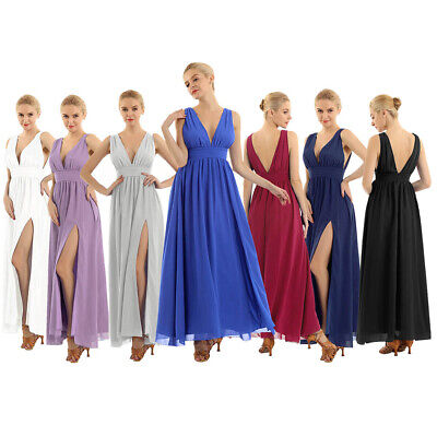 Women Deep V Wedding Bridesmaid Long Evening Party Ball Prom Gown Cocktail Dress