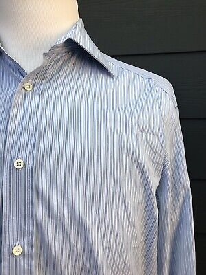 Canali Blue//Peach Stripe Formal Shirts for Mens