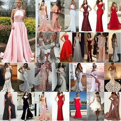 Women Sequin Evening Party Ball Prom Gown Formal Cocktail Wedding Fishtail Dress