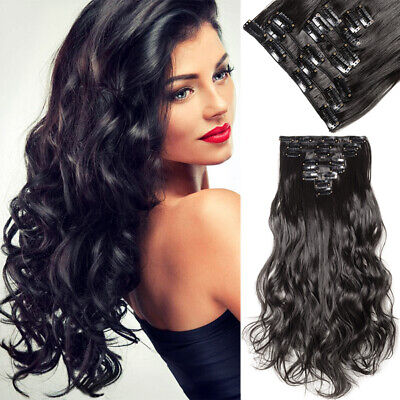 ON CLEARANCE 100% Real Thick Clip in as Human Hair Extensions Full Head Black HG