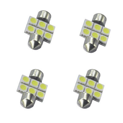 4x Bianco 31MM 5050 6SMD Lampadine interne LED Dome Dome Festoon DE3175 3021