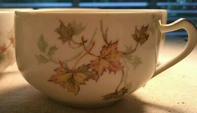 HAVILAND LIMOGES China Porcelain Autumn Leaves 5 Cups 7 Saucers avail Gold Trim