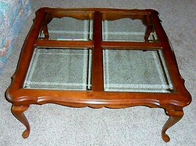 Pennsylvania House Square Cherry Coffee/ Cocktail Table / Beveled Glass Inserts