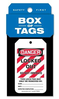 Accuform Box of Tags: OSHA Danger/Locked Out/Do Not Operate, TBX302, 50PK