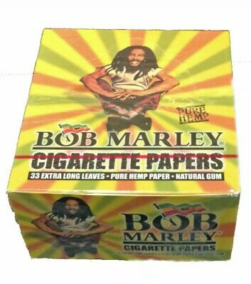 50 Booklets of BOB MARLEY King Size Pure Raw Hemp Rolling Papers Full Box