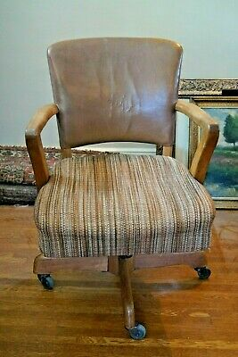 Antique Leather Chair Office Banker Lawyer-Oak, Leather-Tilts, Swivels-WILL SHIP