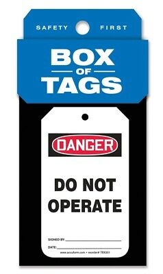 Accuform Box of Tags: OSHA Danger/Do Not Operate, TBX301, 50PK
