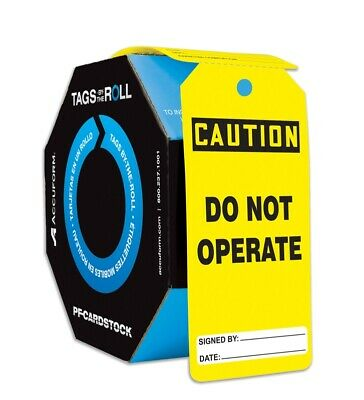 Accuform Safety Tags by The Roll, Do Not Operate, 100 PC, TAR130, Free Shipping