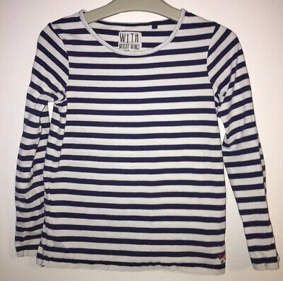 Girls Age 8 (7-8 Years ) Next Long Sleeved Navy / White Striped Top