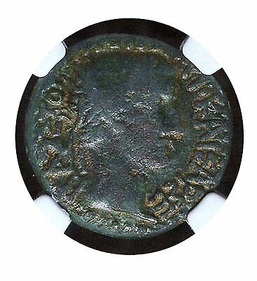 Tiberius (14-37) and Livia. AE 22 mm. NGC F 4/5 3/5 - Thessalonica mint, Macedon