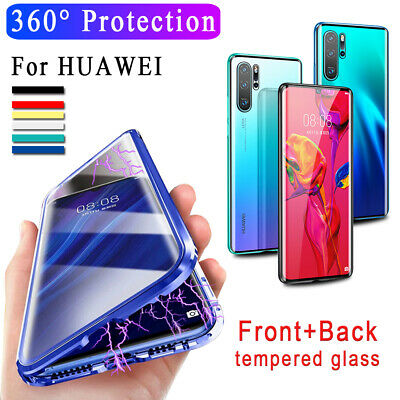 360° Magnetic Adsorption Metal Glass Case Covers For Huawei P20 P30 Pro Mate 20