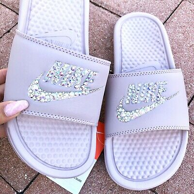 4caac6aa NWT Nike Womens Slides Sandals Swarovski Crystal Bling Bedazzled Blush Size  9