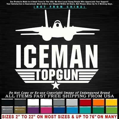 Top Gun Logo Iceman F-14 Maverick Viper Tom Cruise Goose Car Truck Sticker Decal