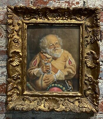 Antique English painting 19th century pastel on paper with carved wood frame