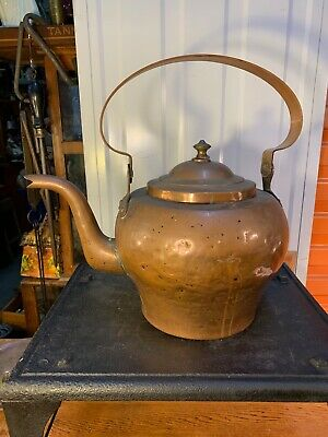 Large Antique 19th Century French Copper Country Kitchen Stove Top Kettle