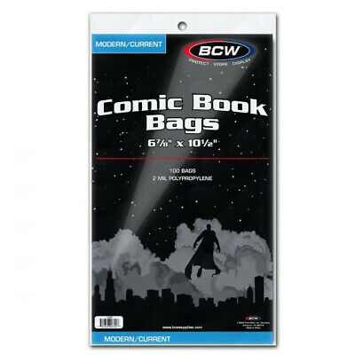 (5000) Bcw Current Comic Book Soft Poly Acid Free Storage Bag Display Holders