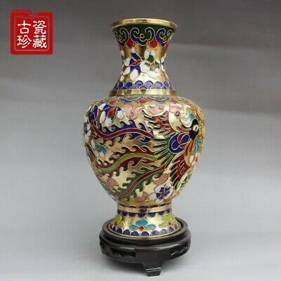 20cm Collectible China Cloisonne Carve Dragon Phoenix Flower Bottle Decor Vase