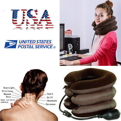 Neck Massager Brace Support Cervical Collar Air Traction Therapy Pain Relief USA