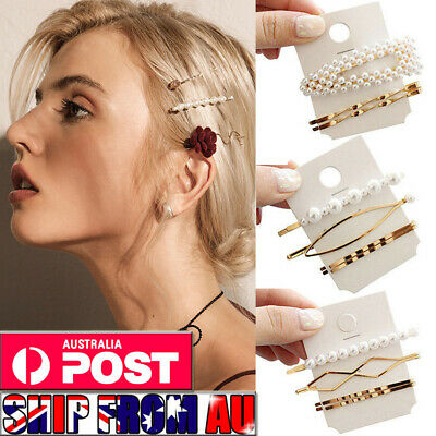 Women Fashion Pearl Hairpin Hair Clip Snap Barrette Stick Hair Accessories AU