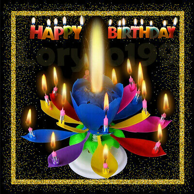 6 Pcak Birthday Candle Gift Multi Color Musical Lotus Rotating Play Music