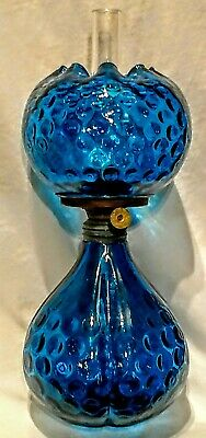 Miniature Antique Blue, Teal Coin Dot Glass Oil Lamp Excellent Working Condition