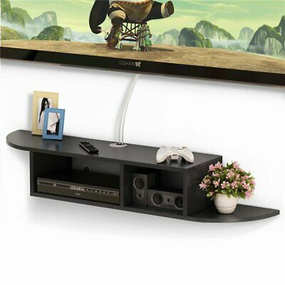 2 Tier Modern Wall Mount Floating Shelf TV Console for Cable Boxes & DVD Players