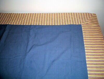 """Vintage Blue Tablecloth W/ Colorful Ticking Style Border 52"""" x 52"""""""
