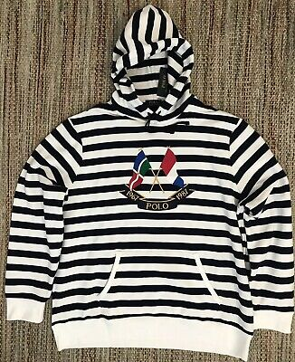72f2f311d Polo Ralph Lauren Cross Flags Striped Hoodie CP-93 Sailing Regatta Nautical  XXL
