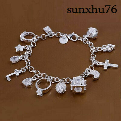 Bracelet Crystal Jewelry Women 925Sterling Charms 13 Wholesale Silver Solid