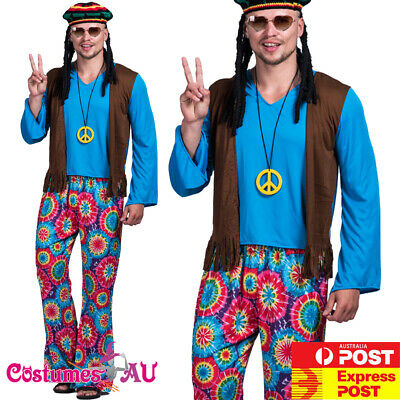 Mens Peace The Hippie 60s 70s Costume Hippy 1960s 1970s Groovy Retro Blue Disco
