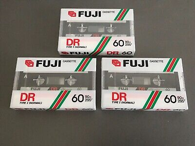 Lot de 3 cassettes FUJI DR 60 neuves scellées NEW SEALED TAPE