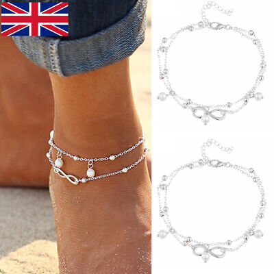 UK Ankle Bracelet Women 925 Sterling Silver Anklet Foot Jewelry Chain Beach New
