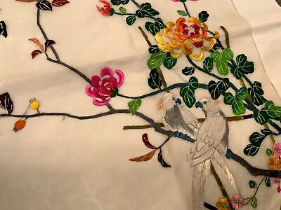 Vintage Unused Chinese Hand Embroidered Large Silk Panel EXOTIC BIRDS