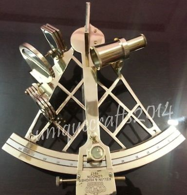 Shiny Brass Nautical Heavy Sextant Vintage Maritime Working Navy Item.
