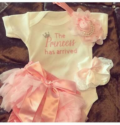 """Handmade Newborn Baby Girl Outfit Tutu Bloomers """"The Princess Has Arrived """""""