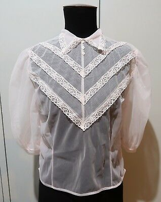 *NEW Vintage Old Stock Size 34 Pink Nylon Tricot Blouse- 49cm Bust