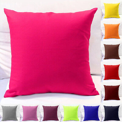 "Durable Solid Cotton Pillow Cushion Cover Home Decor Bed Sofa Throw Case 18""x18"""