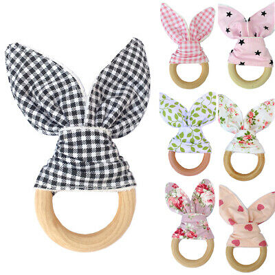 Wooden Newborn Baby Bunny Ear Teething Floral Ring Safety Chew Teether Intriguin