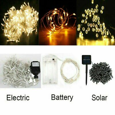 20/30/100/200/500 LED Solar/Battery Powered Fairy String Lights Outdoor Party