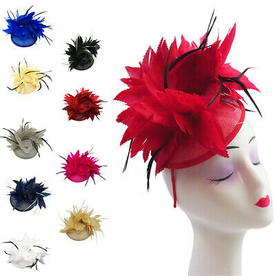 Flower Feather Adjustable Fascinator with Headband Clip Wedding Royal Ascot Race
