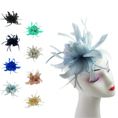 Small Feather Hair Hat Fascinator with Headband Clip Wedding Royal Ascot Race