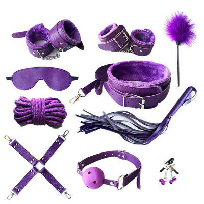10Pcs-Adult-Sex-SM-Toys-Handcuffs-Cuffs-Strap-Whip-Rope-Neck-Bandage-SM-Purple