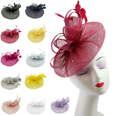 Ribbon Flower Feather Hat Fascinator Headband Clip Wedding Royal Ascot and Derby