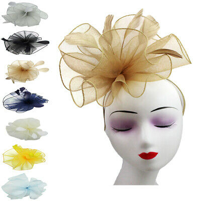 Flower Feathers Fascinator Headband Clip Wedding Prom Royal Ascot Race Occasions
