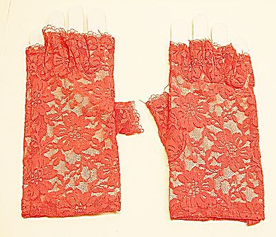 Cool Vintage Style Netted Red Lace Fingerless Gloves  Classical Goth Steam Punk