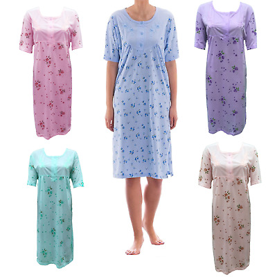 Ladies Printed Cotton Rich Nightie, Short Sleeve, Quality Nightwear, Sizes 10-24