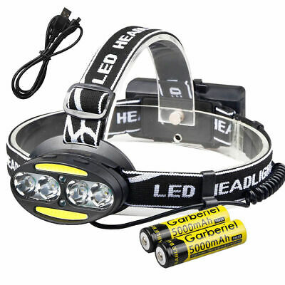 80000LM 8 LED USB Rechargeable Headlamp Headlight Flashlight Torch+18650 Battery