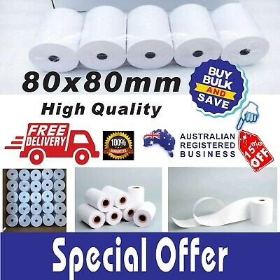 80x80mm Thermal Paper Rolls EFTPOS Cash Register Receipt Bulk Deals 10% GST Inc.