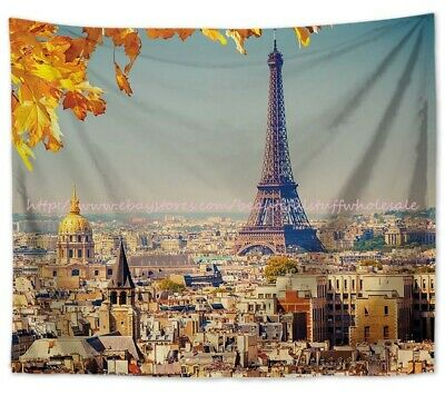 Eiffel Tower Tapestry Sun View Old Paris Print Wall Hanging Decor