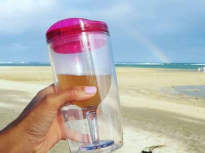Spillproof Travel Wine Tumbler Ruby Pink Camping Hiking